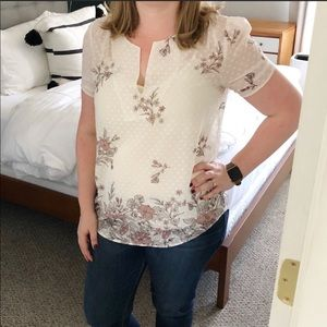 Floral Swiss dot blouse